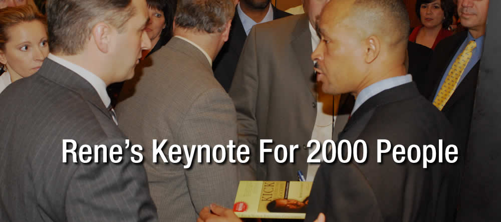 This is when Rene was the annual conference keynote speaker for Aflac at their Focus meeting in Atlanta.